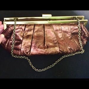 BCBGMaxazaria Bronze Metal Clutch